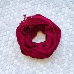 Dark Red Accent Scarf with Fringe